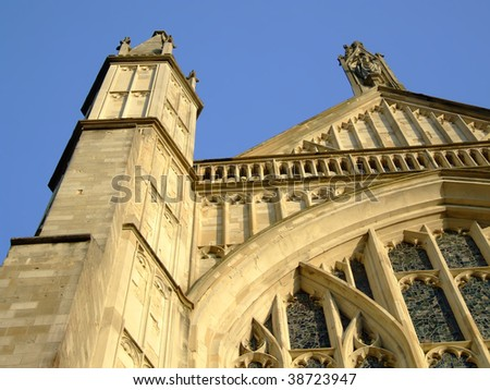 Detail of stonework on Winchester Cathedral - stock photo
