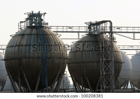 detail of storage tang for petrol in refinery - stock photo
