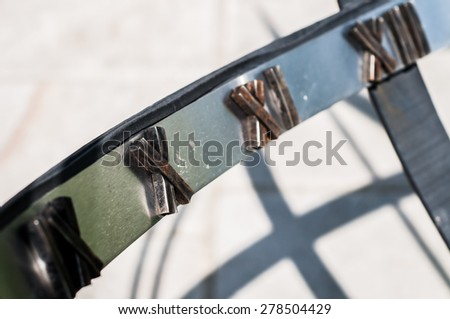 detail of sun-dial - stock photo