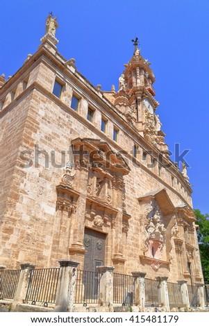 Detail of sunny facade of the Baroque building of Santos Juan church, Valencia, Spain - stock photo