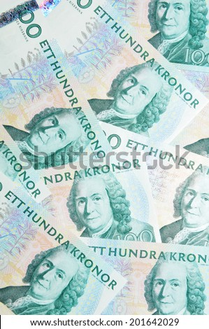 Detail of Sweden currency (crown or krone, SEK) - stock photo