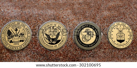 Detail of symbols of USA military army navy airforce marines - stock photo