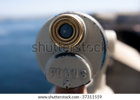 Detail of telescope with soft focus background