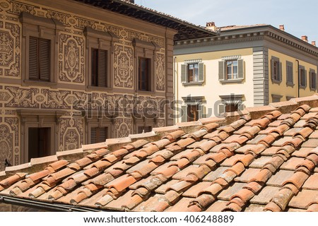 Detail of terracotta roof tiles on a building in florence, Italy