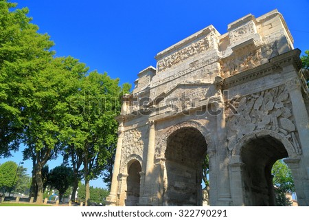 Detail of the ancient ruin of a Roman triumph arch in Orange, France
