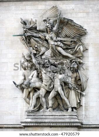 Detail of the Arc de Triomphe, Paris, France [Best for Web Resolution] - stock photo