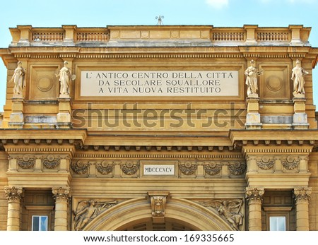 Detail of the Arch from  the Piazza della Reppublica, Florence, Italy - stock photo
