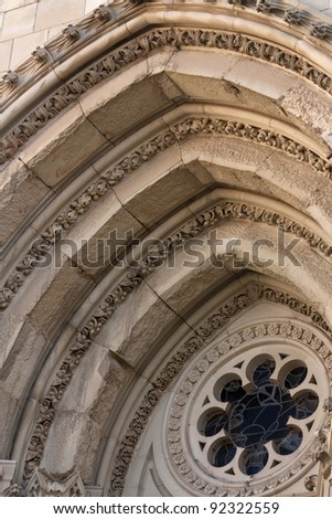 Detail of the arches of the cathedral. Cuenca, Castilla la Mancha, Spain.