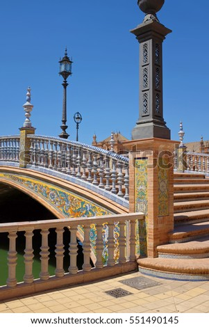 Detail of the architecture od Plaza de Espana in Seville, Spain