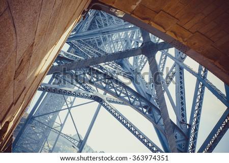 Detail of the architecture the Luis I bridge in Porto. - stock photo