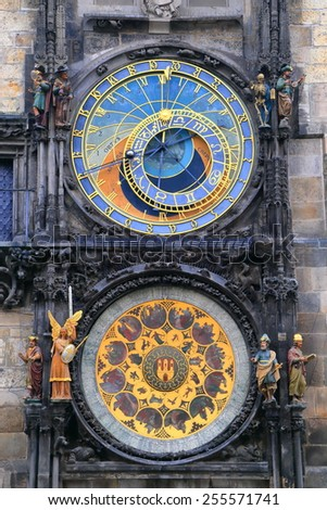 Detail of the Astronomical Clock dials, Prague Old Town, Czech Republic - stock photo