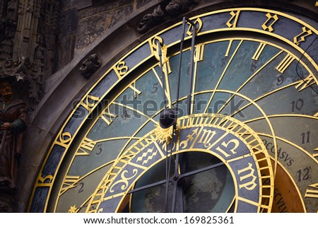 Detail of the astronomical clock in Prague - stock photo