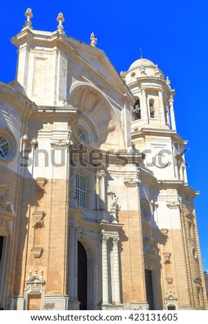 Detail of the Baroque facade of the Cadiz Cathedral in Cadiz, Andalusia, Spain - stock photo