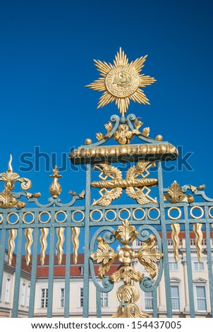 Detail of the baroque gate at Schloss Charlottenburg in Berlin, Germany  - stock photo
