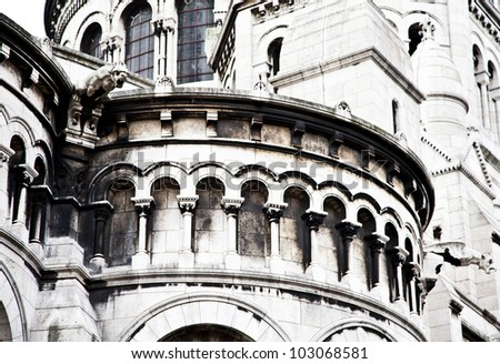 Detail of the Basilica of the Sacred Heart of Paris, commonly known as Sacr�©-C��ur Basilica, dedicated to the Sacred Heart of Jesus, in Paris, France - stock photo
