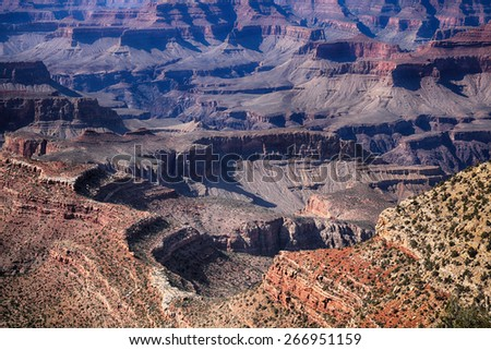 Detail of the beautiful and gorgeous Grand Canyon in Arizona, USA - stock photo