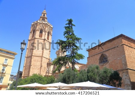 Detail of the belfry dominating the Metropolitan Cathedral - Basilica of the Assumption of Our Lady of Valencia (Saint Mary's  or Valencia Cathedral) in Valencia, Spain - stock photo