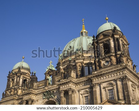 Detail of the Berlin Cathedral (Berliner Dom) in Berlin, Germany. - stock photo