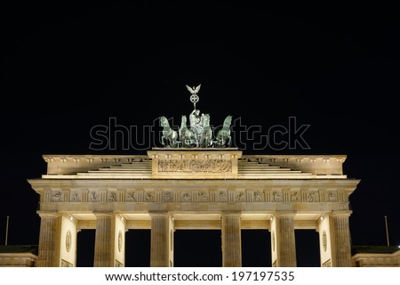 Detail of the Brandenburg Gate at night in Berlin, Germany - stock photo