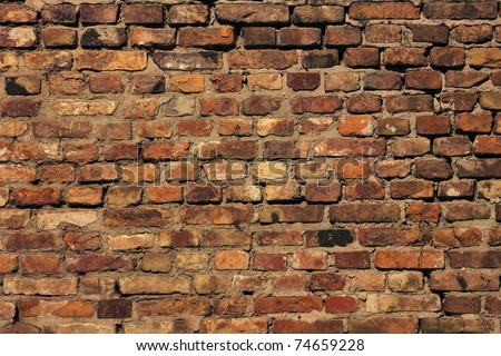 Detail of the brick walls of the old - stock photo