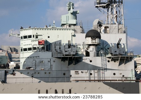 Detail of the bridge of a warship - stock photo