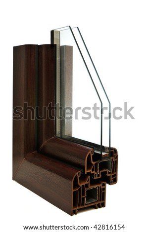 Detail of the brown window. Isolated on the white background. - stock photo