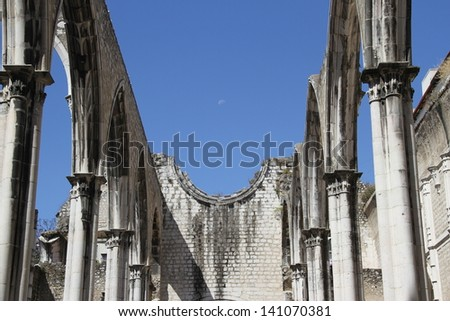 Detail of the Carmo church in Lisbon - stock photo