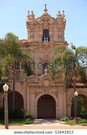 Detail of the carvings on the Casa de Balboa building in Balboa Park in San Diego - stock photo