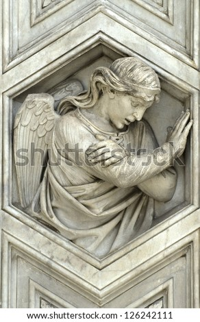 detail of the cathedral of florence - stock photo