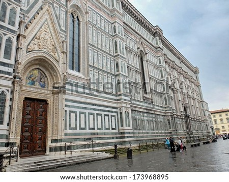 Detail of the cathedral of Florence, Italy - stock photo