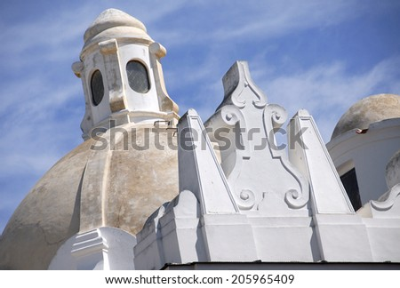 Detail of the cathedral's roof, Capri, Italy