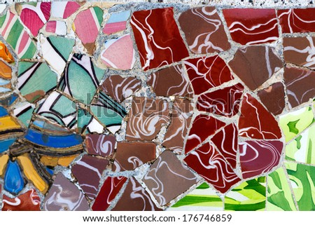 Detail of the ceramics from the Guadi in park Guell Barcelona, Spain - stock photo