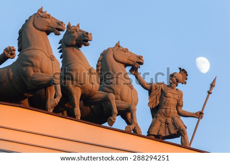 Detail of the chariot of victory over the arch of the General Staff at the Palace Square in St. Petersburg - stock photo
