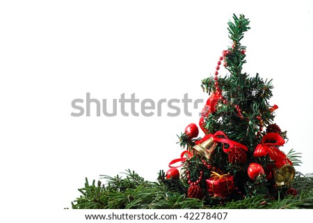 Detail of the Christmas tree with ribbons - stock photo