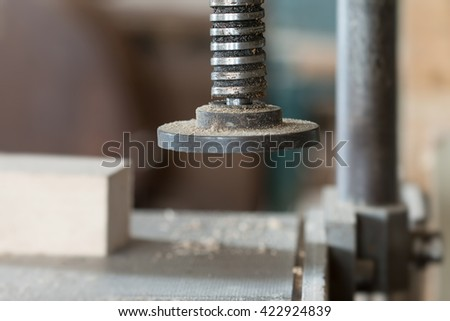Detail of the chuck in the carpentry workshop - shallow depth of field - stock photo