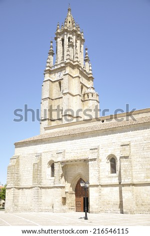 Detail of the church and collegiate of San Miguel, it was built in Gothic-Renaissance style and it is located in Ampudia (Palencia, Spain) - stock photo
