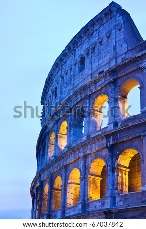 Detail of the Coliseum (or Colosseum) in Rome, Italy by night - stock photo