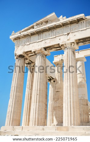 Detail of the columns in the famous Parthenon temple in the Acropolis, Athens, Greece. - stock photo