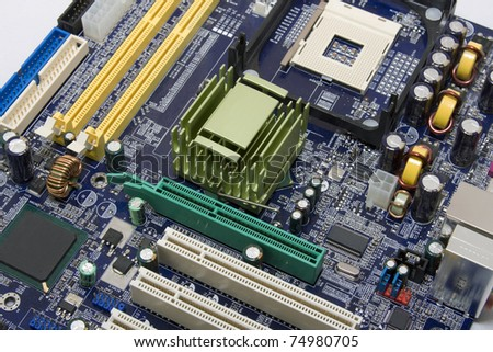 Detail of the computer motherboard.