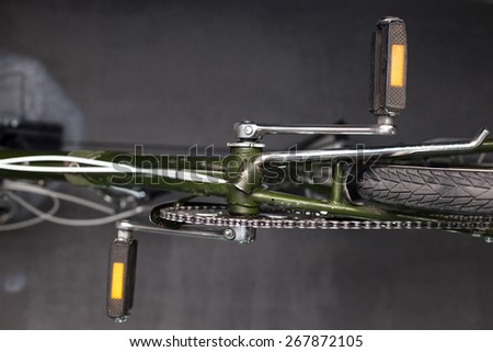 detail of the crank-set of a bike - stock photo