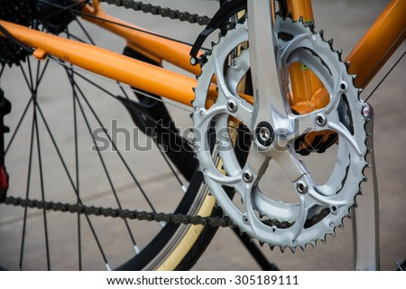 detail of the crank-set of a bike