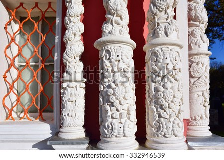 Detail of the decoration of the Orthodox Church. Carved pillars on the facade. A sample of Russian architecture art circa the 18th century - stock photo