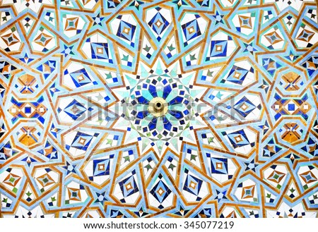 Detail of the decorations of Hassan II mosque in Casablanca, Morocco - stock photo