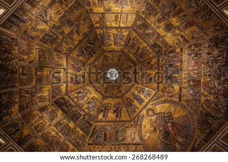 Detail of the dome of the Baptistery in Florence, Italy