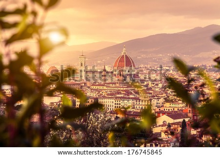 Detail of the Duomo of Florence, Santa Maria del Fiore, at sunset from Piazzale Michelangelo, Tuscany - stock photo