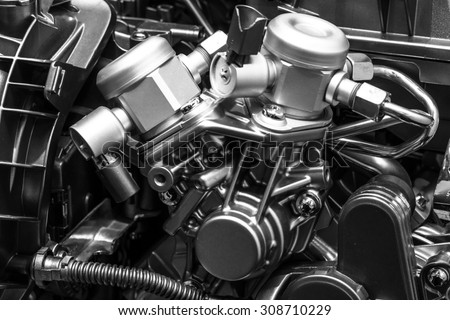 Detail of the engine. Close-up. Black and white. - stock photo