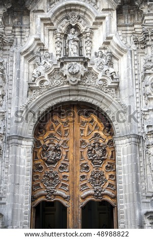 Detail of the entrance of a Church in Mexico City, Mexico - stock photo