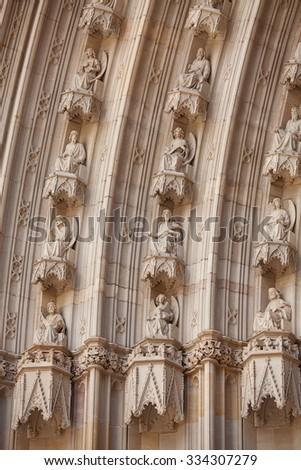 Detail of the exterior of Santa Maria del Mar church, Barcelona, Spain - stock photo
