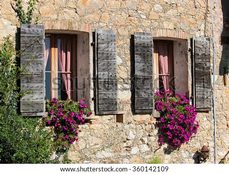 Detail of the facade of an old rural house in Italy