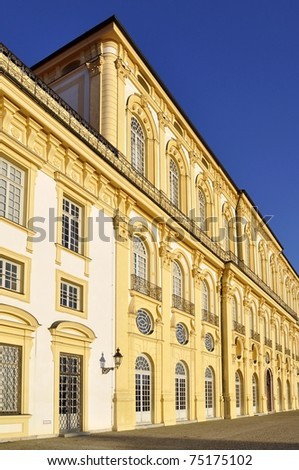 Detail of the facade of Schloss Schleissheim, a baroque palace in Bavaria. - stock photo
